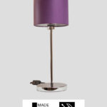 Madeira – Tischlampe Chrom glänzend mit lila Schirm (groß)