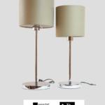 Madeira – Tischlampe Chrom glänzend mit Schirm taupe (groß)