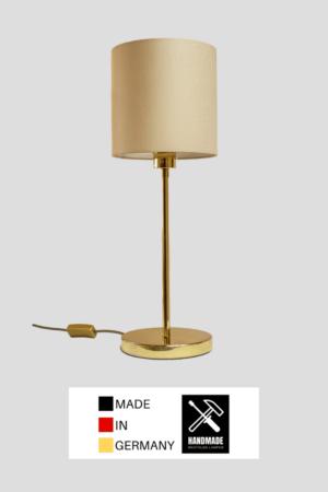 Madeira – Tischlampe Messing glänzend mit beigefarbenem Schirm (groß)