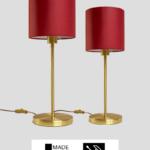 Madeira – Tischlampe aus Messing mit rotem Schirm (groß)