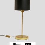 Madeira – Tischlampe Messing glänzend mit schwarzem Schirm (groß)