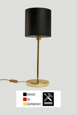 Madeira – Tischlampe Messing glänzend mit schwarzem Schirm (klein)