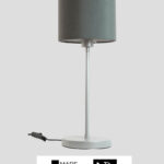 Madeira – Tischlampe silberfarben mit Schirm schiefergrau (groß)