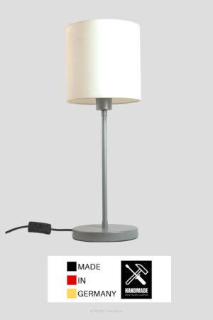Madeira – Tischlampe silberfarben mit Schirm weiss (groß)