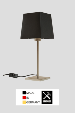 Matrix – Tischlampe Edelstahloptik mit Schirm schwarz