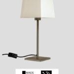 Matrix – Tischlampe Edelstahl Optik mit Schirm weiß