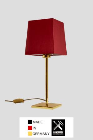 Matrix – Tischlampe Messing glänzend mit Schirm rot