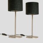 Mellow – Tischlampe in Edelstahl Optik mit dunkelgrauem Schirm