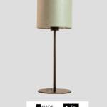 Mellow – Tischlampe ral schwarz mit grün/grauem Schirm