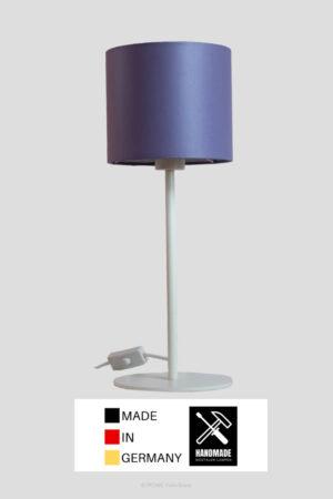 Mellow – Tischlampe weiß mit lila/malve Schirm