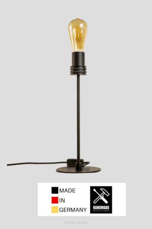 Retro – Tischlampe Metall schwarz matt mit LED Vintage extra warm (groß)