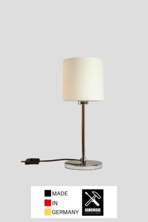 Round – Tischlampe Chrom glänzend mit Schirm reinweiß