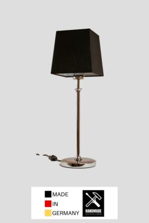 Stil – Tischlampe Chrom glänzend mit Schirm schwarz (groß)