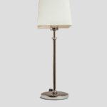 Stil – Tischlampe Chrom glänzend mit Schirm weiß (klein)