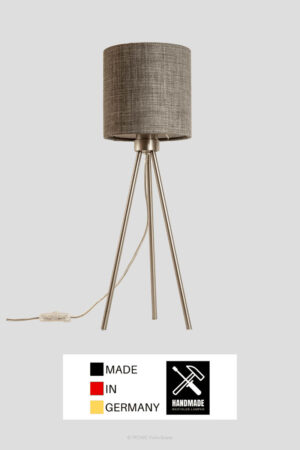 Tribus – Tischlampe Dreibein Edelstahl mit Schirm schiefergrau