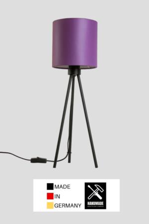 Tribus – Tischlampe Dreibein schwarz mit Schirm lila
