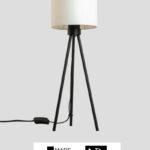 Tribus – Tischlampe Dreibein schwarz mit Schirm weiß