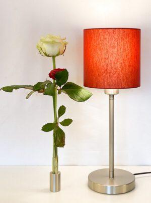 Madeira – Tischlampe klein Chrom / Edelstahl mit Reagenzglasvase