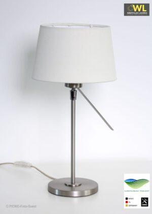 Pila – Tischlampe Edelstahloptik Schirm variabel verstellbar
